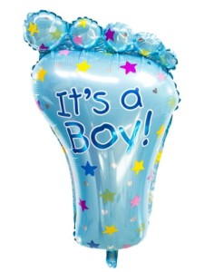 BALON STOPA NIEBIESKA IT'S A BOY! 45X79CM