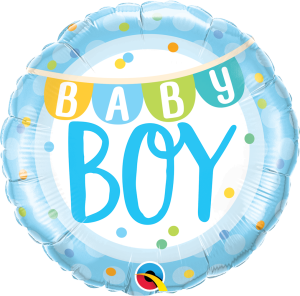 "BALON 18"" BABY BOY W GROSZKI"