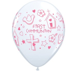 BALONY LATEKSOWE KOMUNIJNE FIRST COMMUNION SYMBOLS GIRL 25SZT