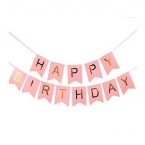 GIRLANDA TRANSPARENT RÓŻOWO ZŁOTA 2M HAPPY BIRTHDAY 2M