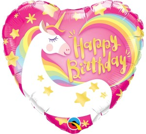 "BALON 18"" SERCE BIRTHDAY MAGICAL UNICORN"