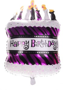 BALONY FOLIOWE HAPPY BIRTHDAY TORT57,5X88CM FIOLET