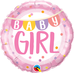 "BALON 18"" BABY GIRL W GROSZKI"