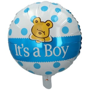 "BALON 18""IT'S A BOY NIEBIESKI Z MISIEM"